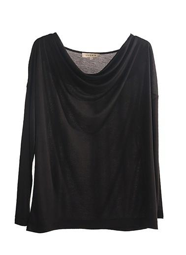 Luokk Breda Degaje Yaka Uzun Kol Kadın Bluz Siyah